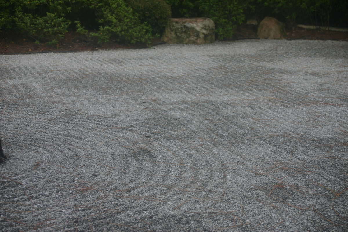 This close-up of the raked gravel gives a feeling of the space of the Zen garden.