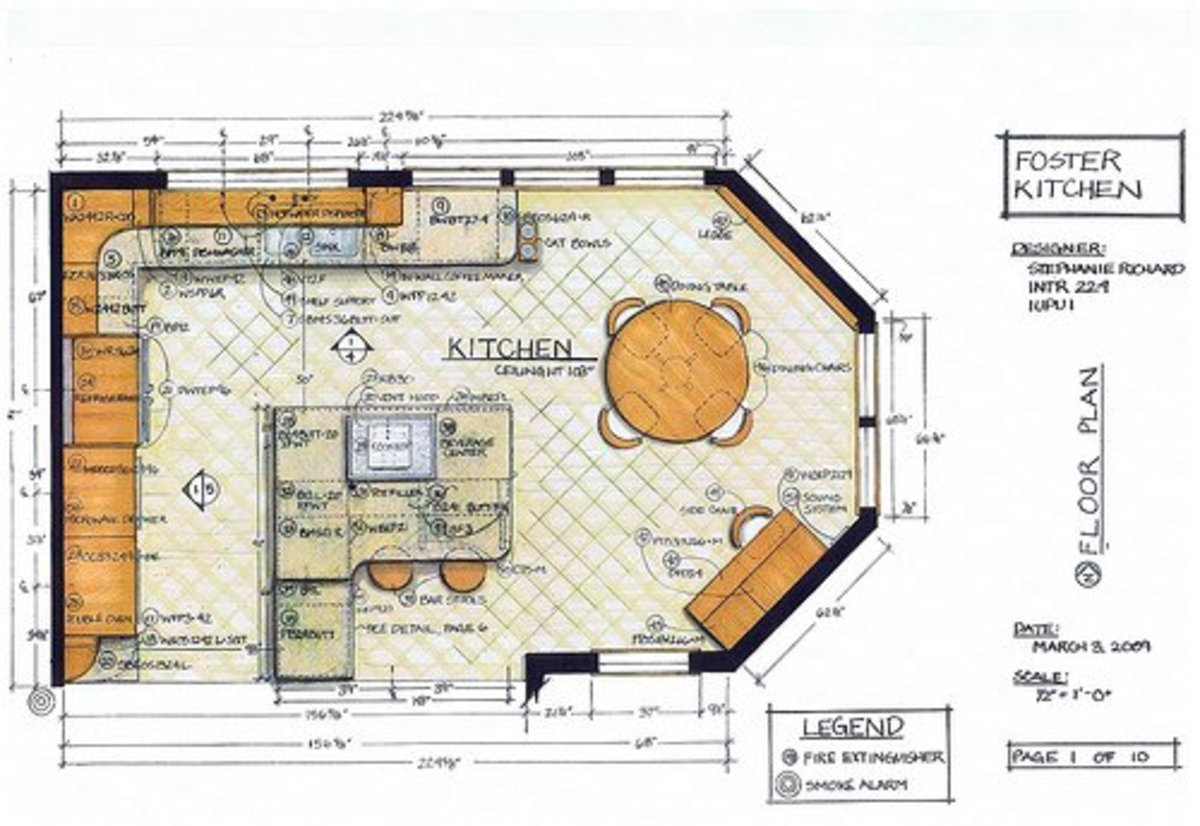 Mechanical Drawing Or Floorplan Of A Residential Kitchen