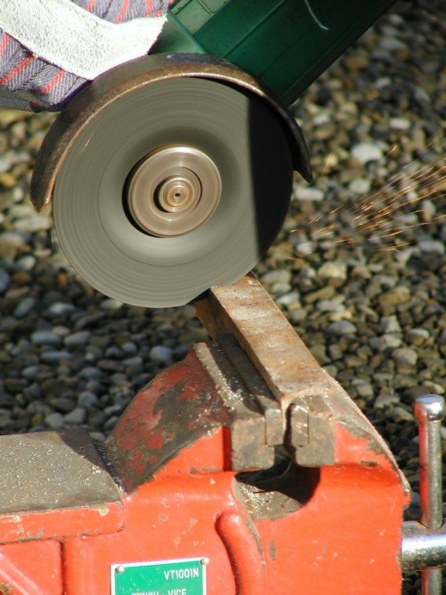 Cutting angle iron with an angle grinder