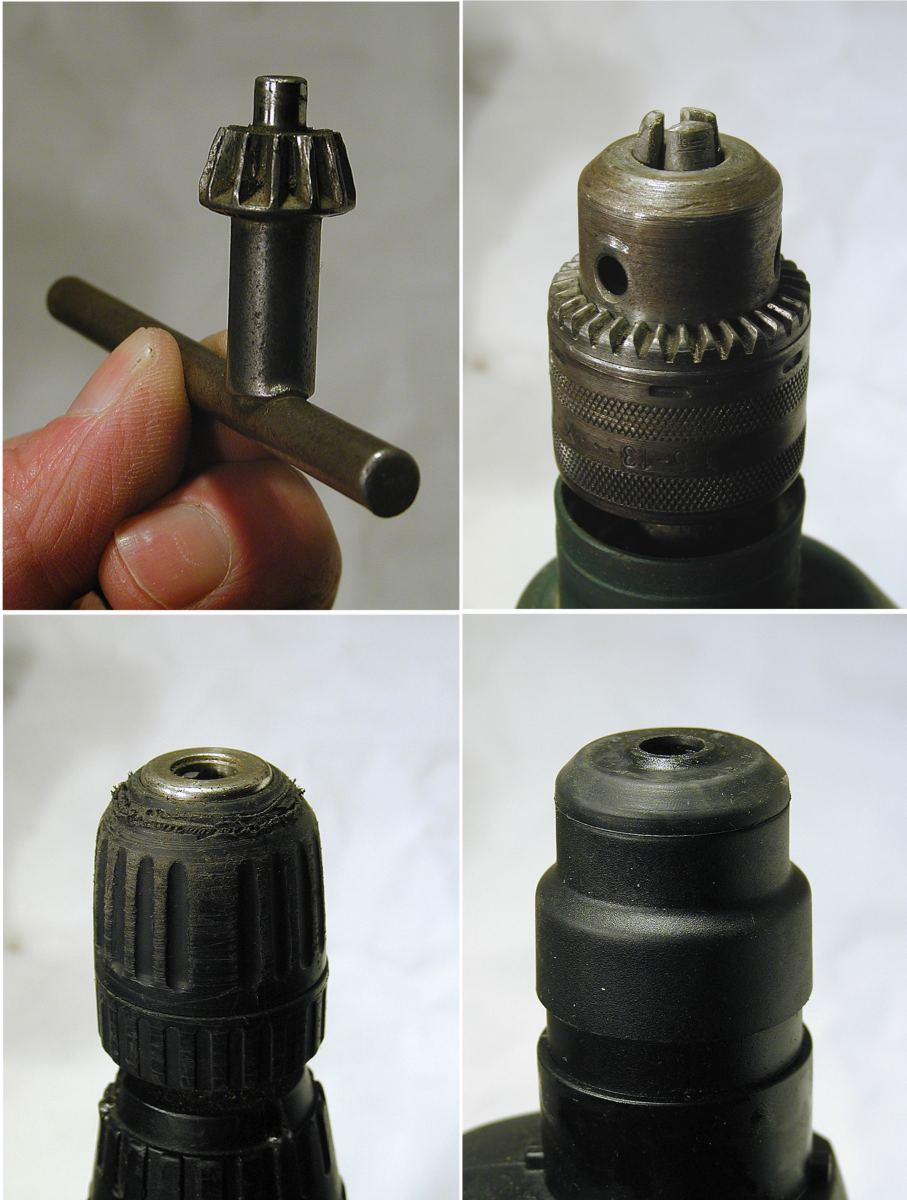 Clockwise from top: chuck key, keyed chuck, SDS chuck, and keyless chuck (hand-tightened).