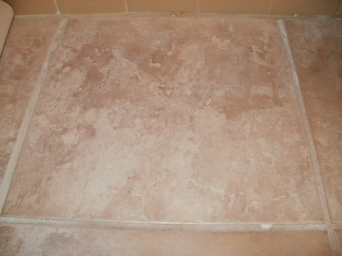 Bathroom tile cleaned with baking soda.