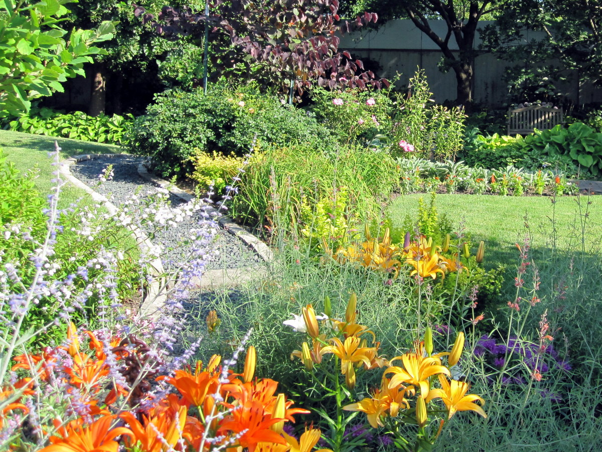 A gravel path allows visitors access to a fragrant test garden flower bed.