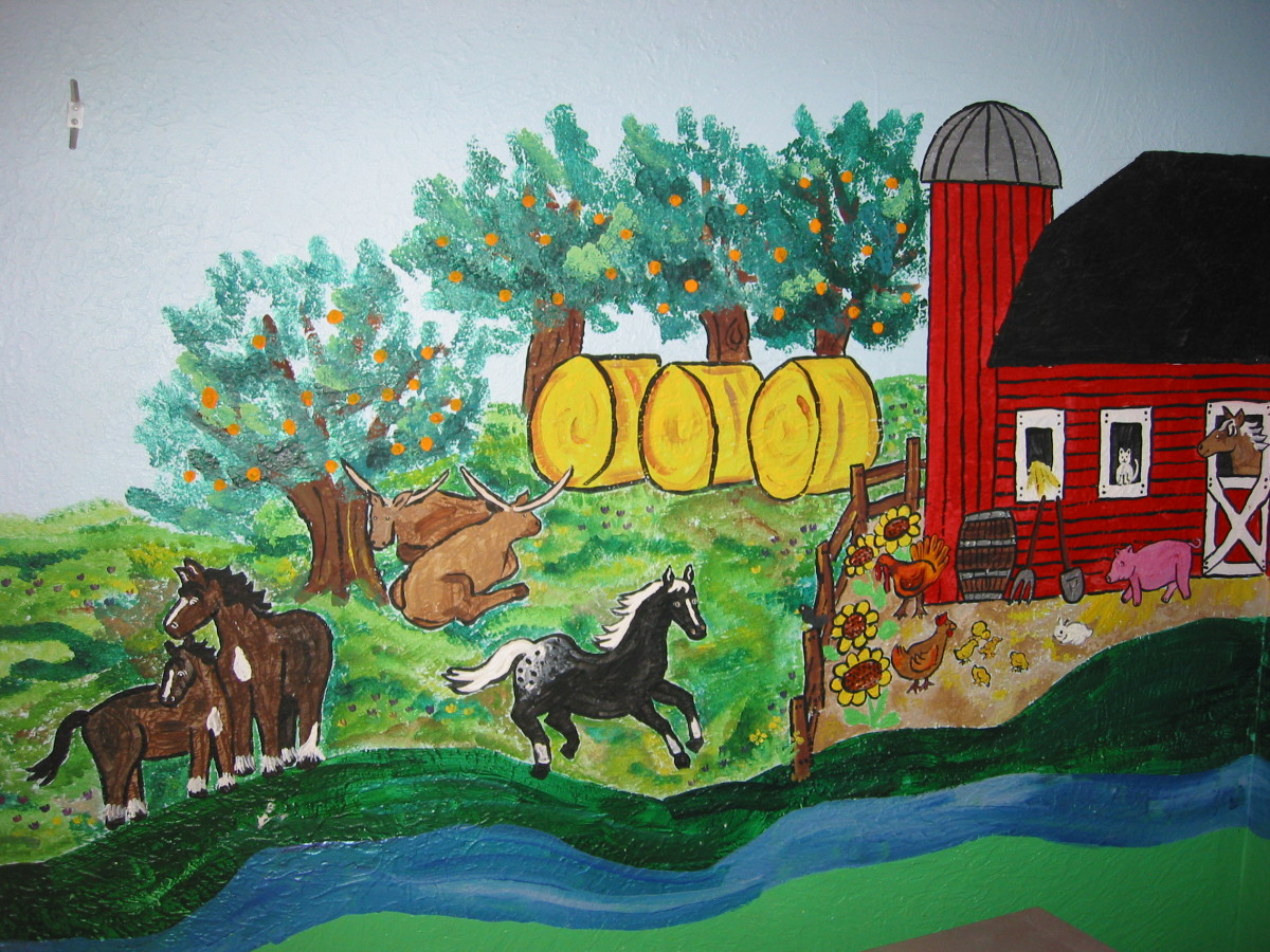 Barn Scene Mural: Before painting my mural, I made sure to re-paint the wall with a semi-gloss paint to make fingerprints easier to remove.