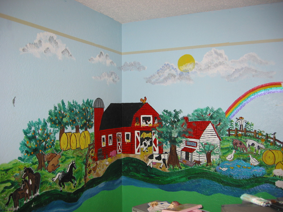 My farm mural was small and full of details.  You could easily make a much larger barn, or just a few animals.