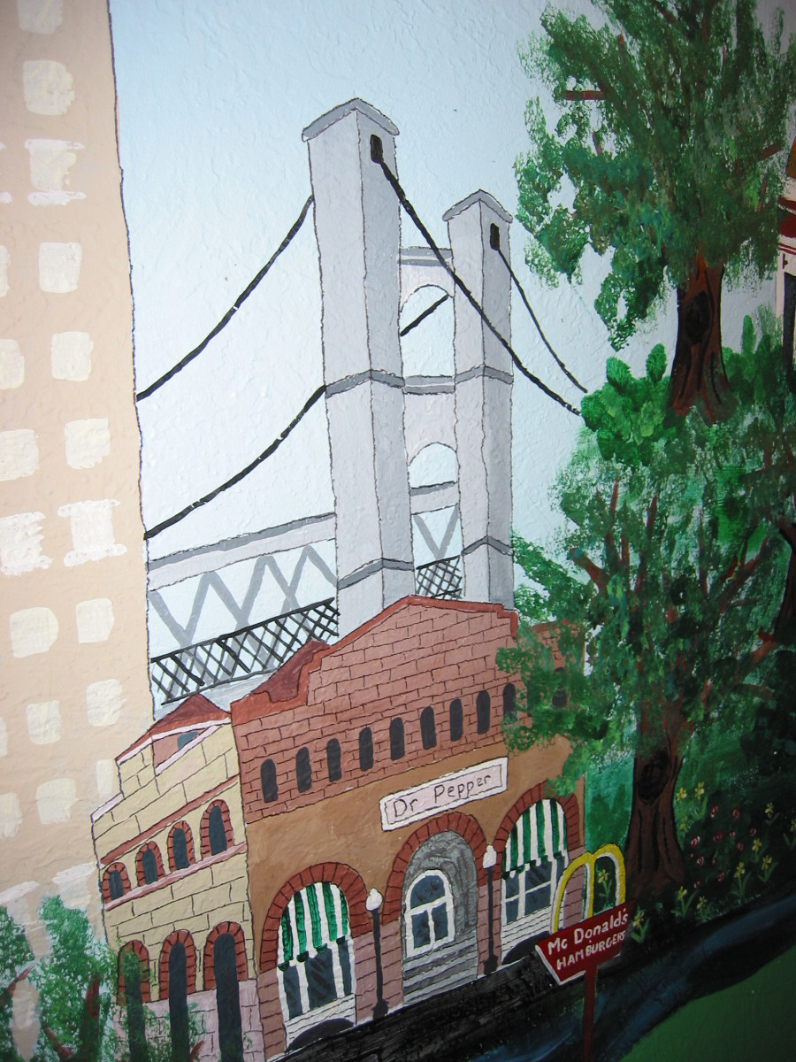 Local landmarks like this suspension bridge and the Dr. Pepper museum make this wall mural a fun reminder of our town.