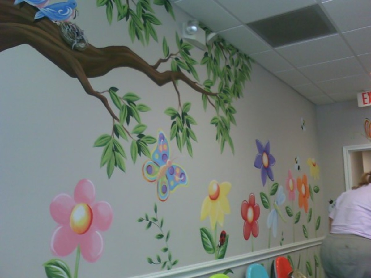 Simple designs pop when you add a white highlight on flower wall mural.