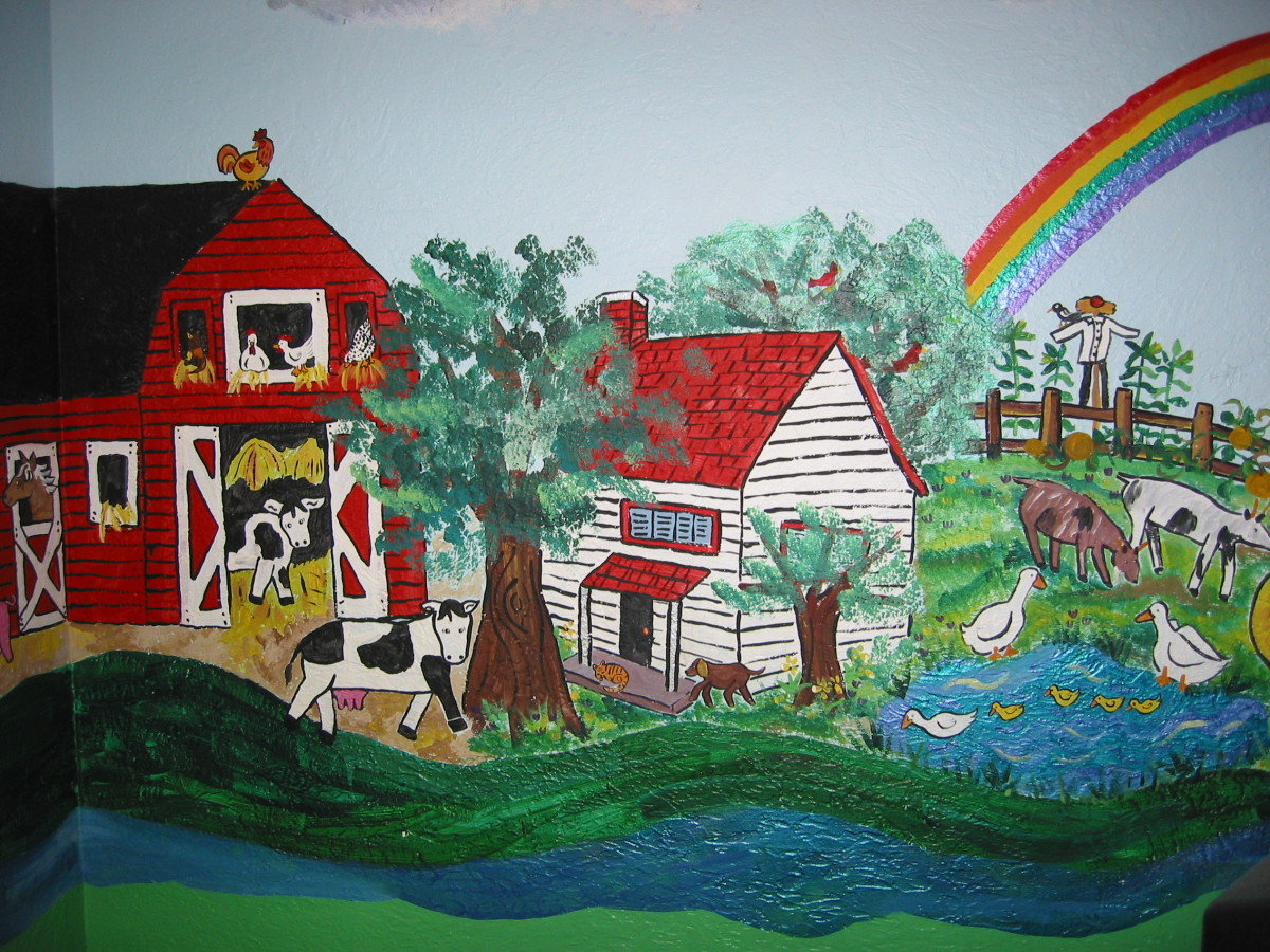 My son's favorite part of the wall was the rainbow that stretched between the farm and city.  He also liked to name the animals.