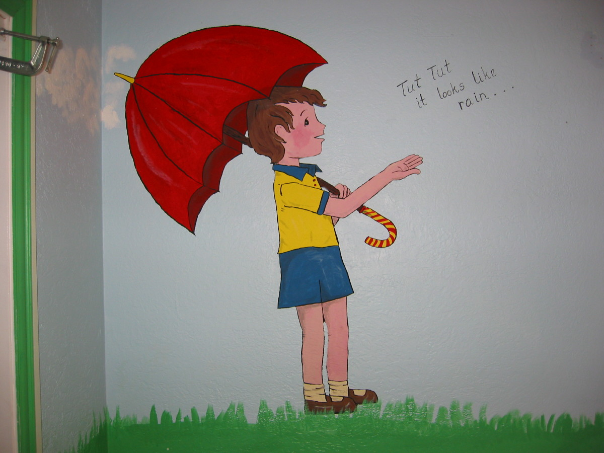 "Christopher Robin ""It looks like rain!"" Add a caption to your wall mural if it fits the character."