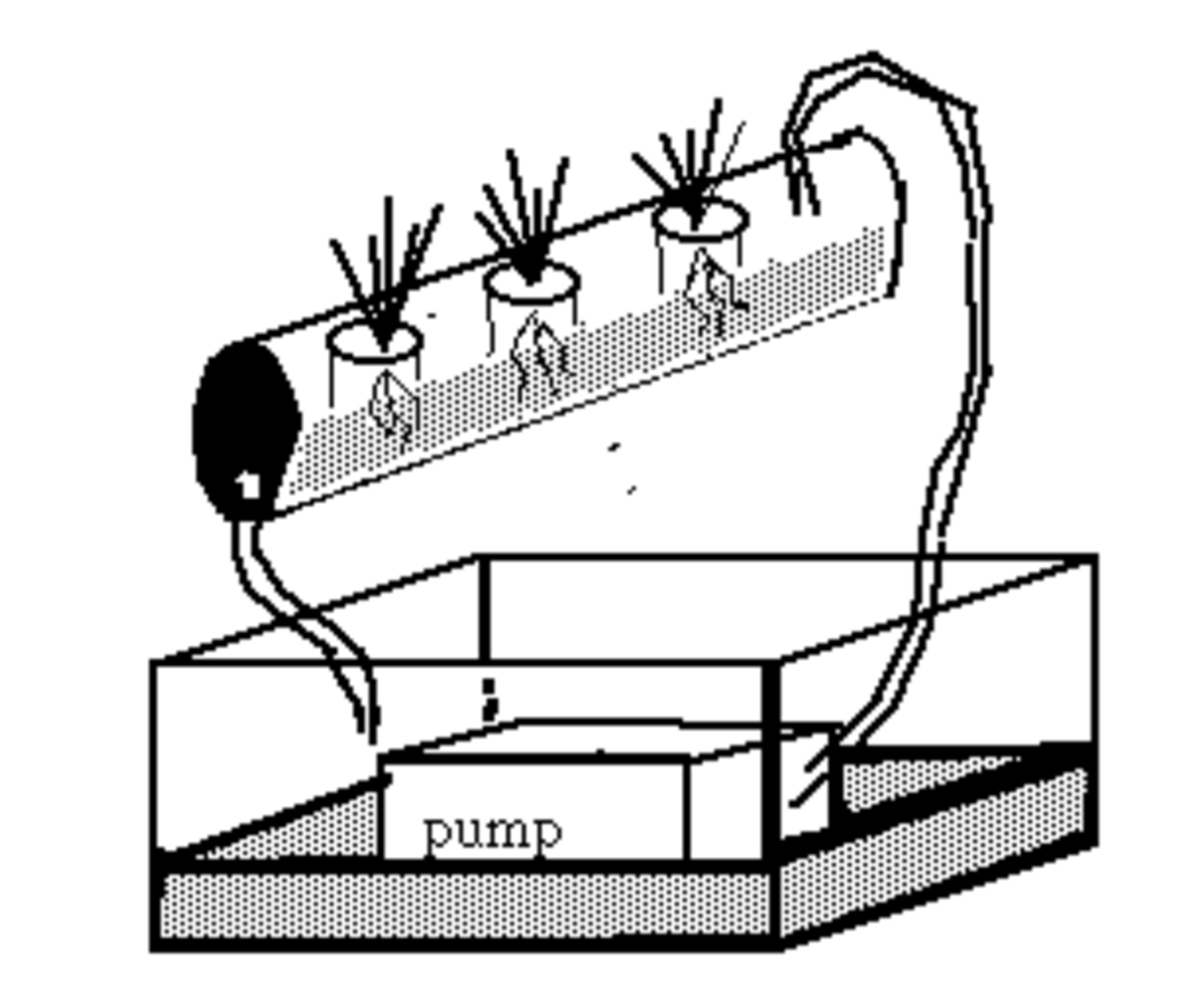 Hydroponic systems pump a dilute nutrient solution on a regular schedule to maintain optimal growth conditions.  Sand is one type of media that is used in these systems.
