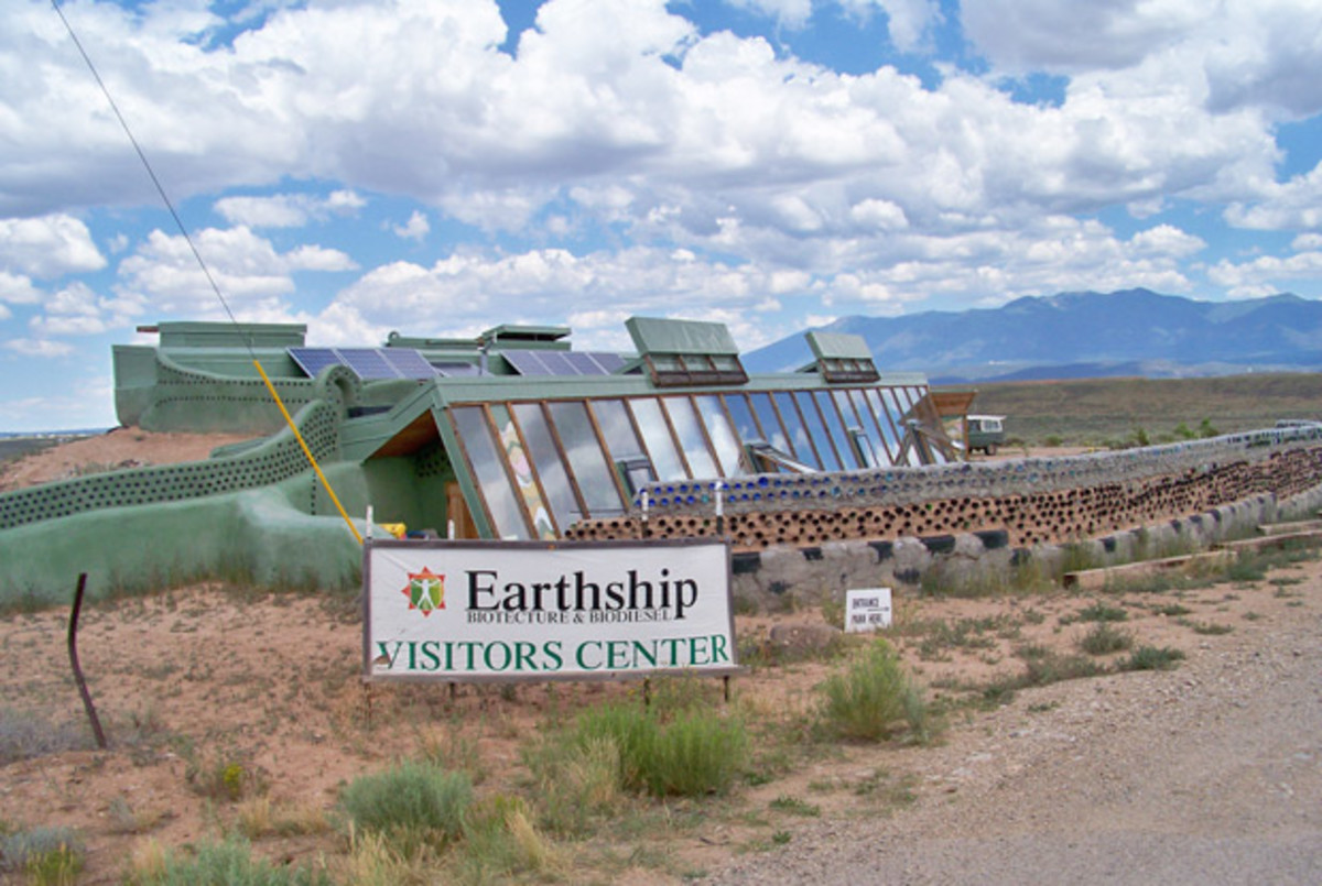 Earthship Demonstration Project - This is like a real estate model home, showing the window side of the house.