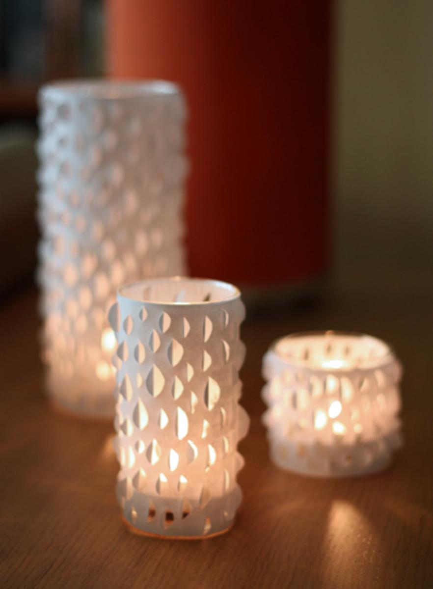 Cut paper candles