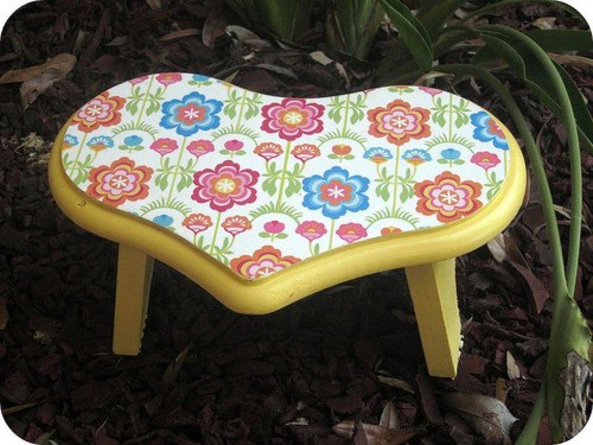 Decorative heart shaped stool