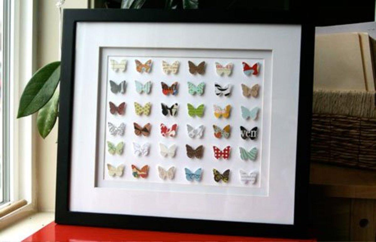 Paper butterflies punch art