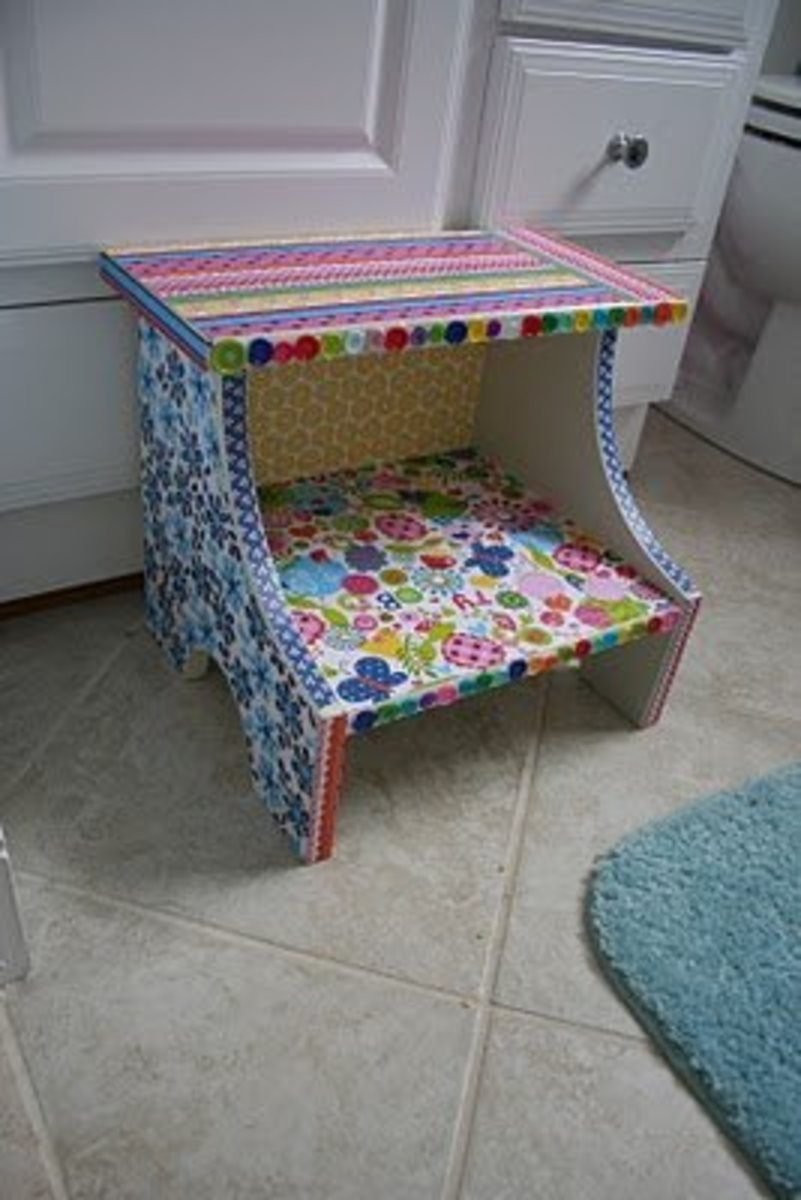 cute decorated step stool