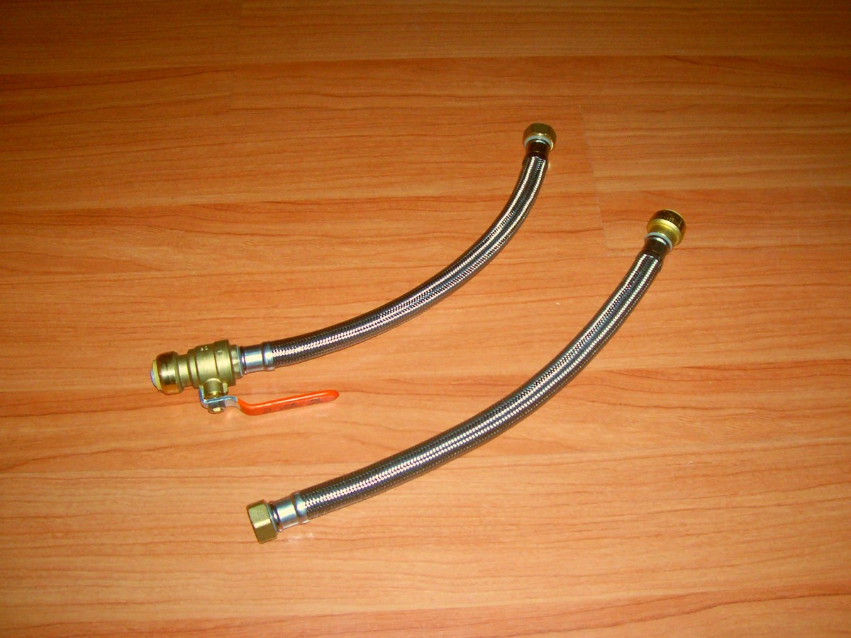 Here are a couple of flexible, braided hose connections. Threaded on one side for the water heater and push fit on the other. Notice one has the valve built in if needed.