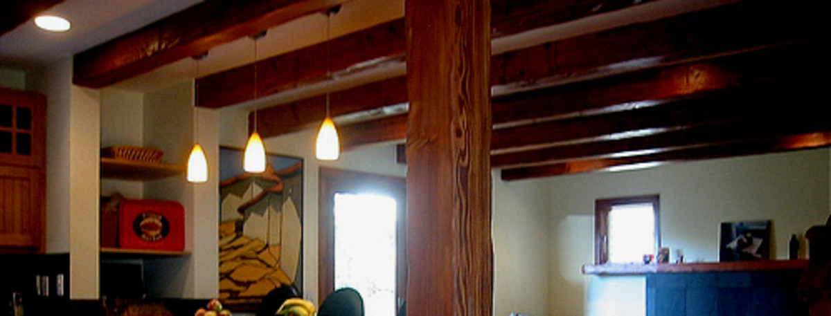 Wood ceiling beams, whether real or faux, give any room a rustic feel.