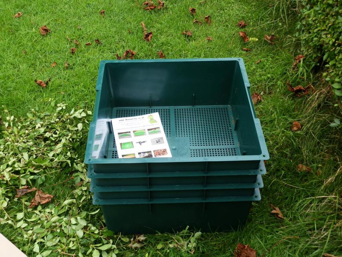 the extra worm composting trays not yet in use