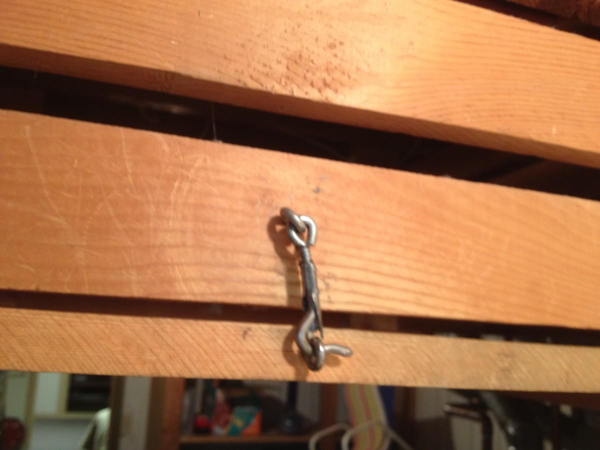 Locking latch and eyehooks