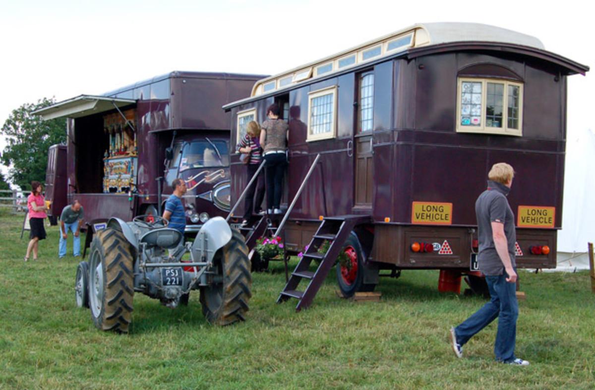 Caravans are sometimes used instead of vans.
