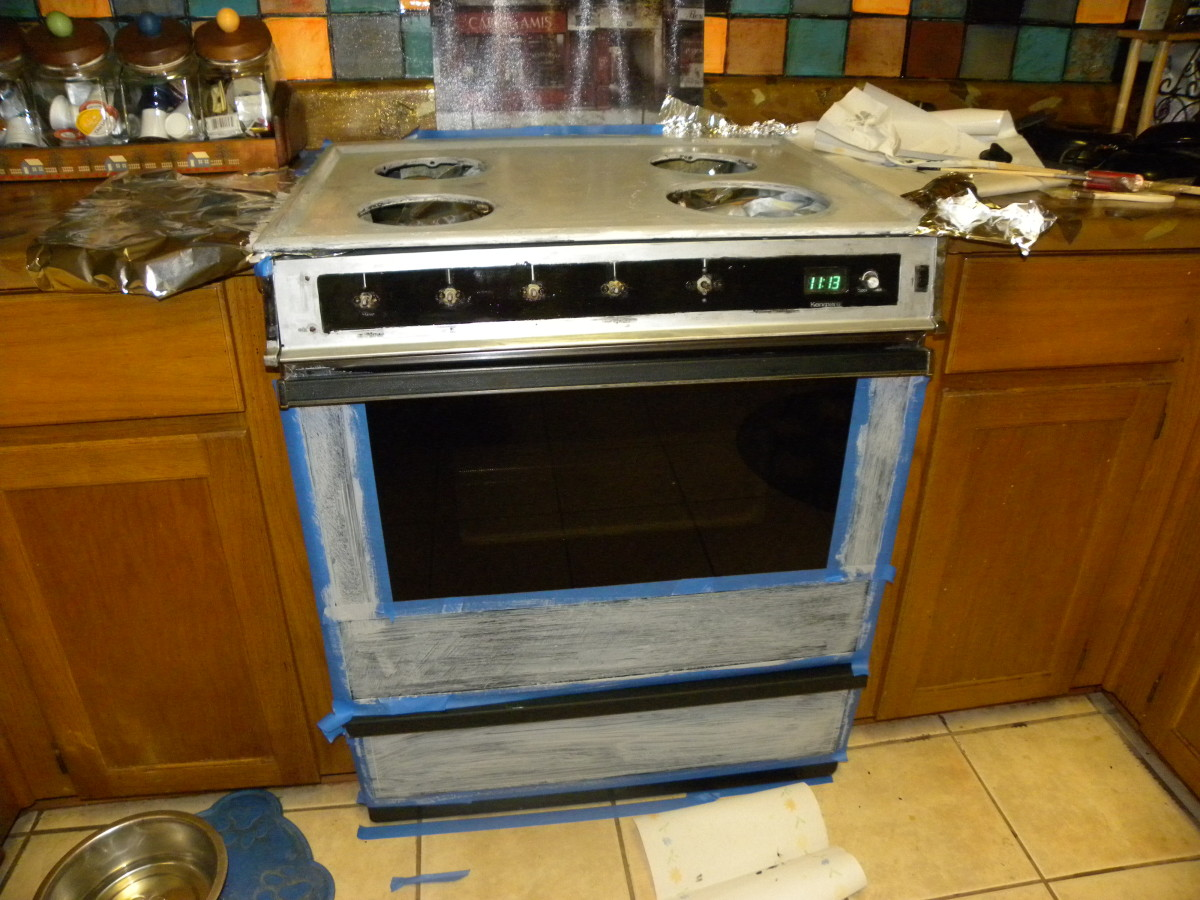 This picture shows the stove with the painters tape still in place.