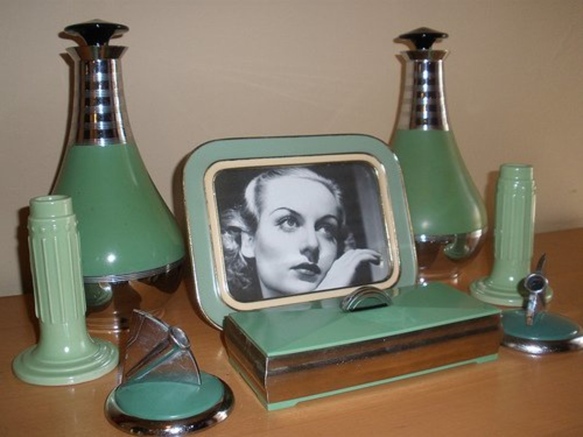 Accessories from the 1930s featuring what is known as 'depression glass' green.