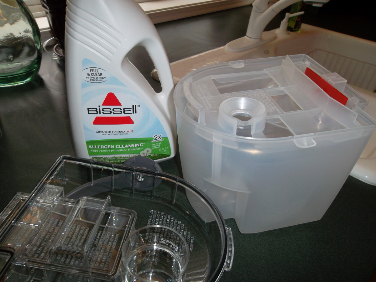 Bissell cleaning formula is easily measured in the lid of the water tank.