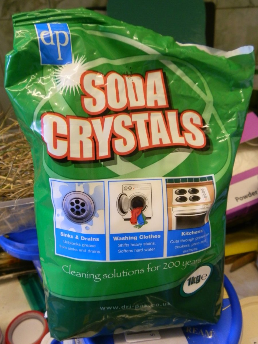 a bag of soda crystals, also known as sodium carbonate or washing soda