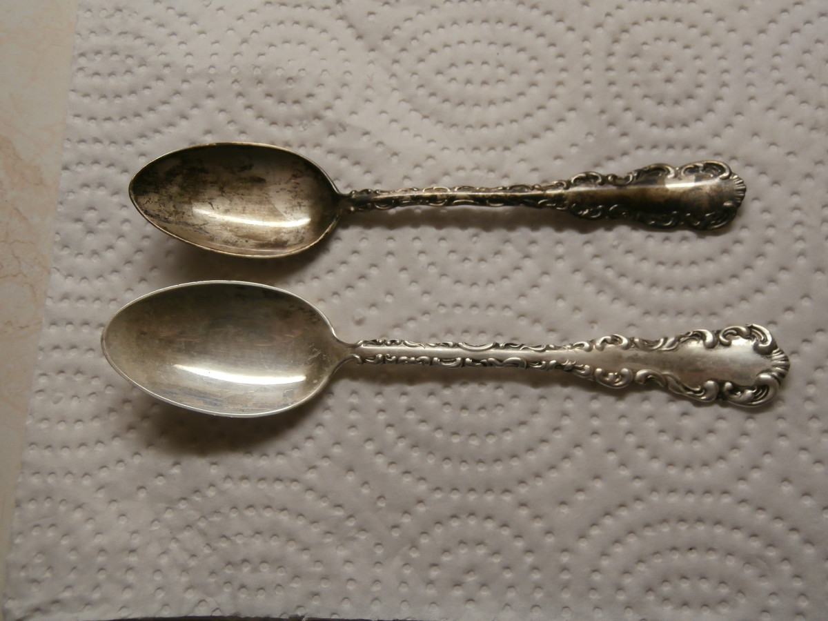 This is what the spoon looked like after using the first application. Please note that these spoons have not been cleaned in 45 years.