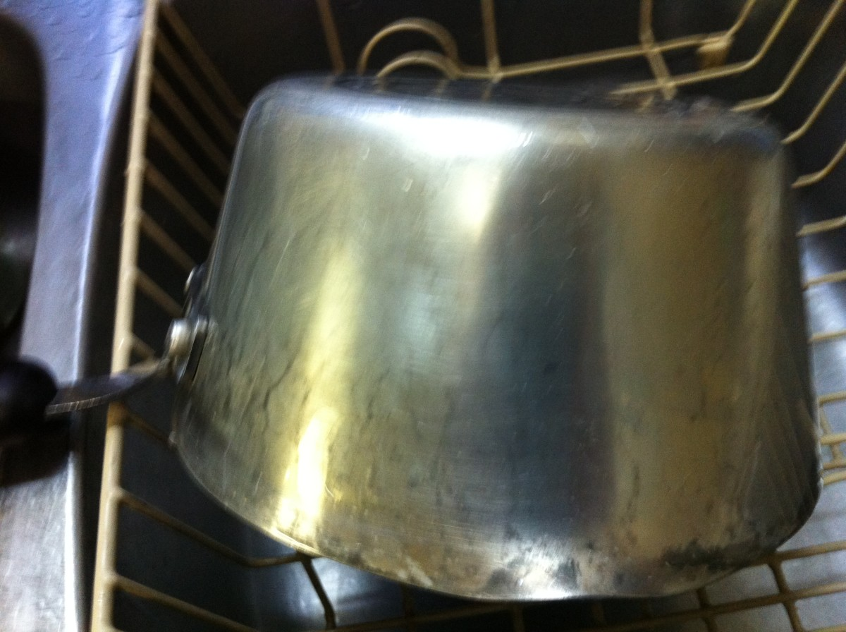 Saucepan after using CLR Metal Clear