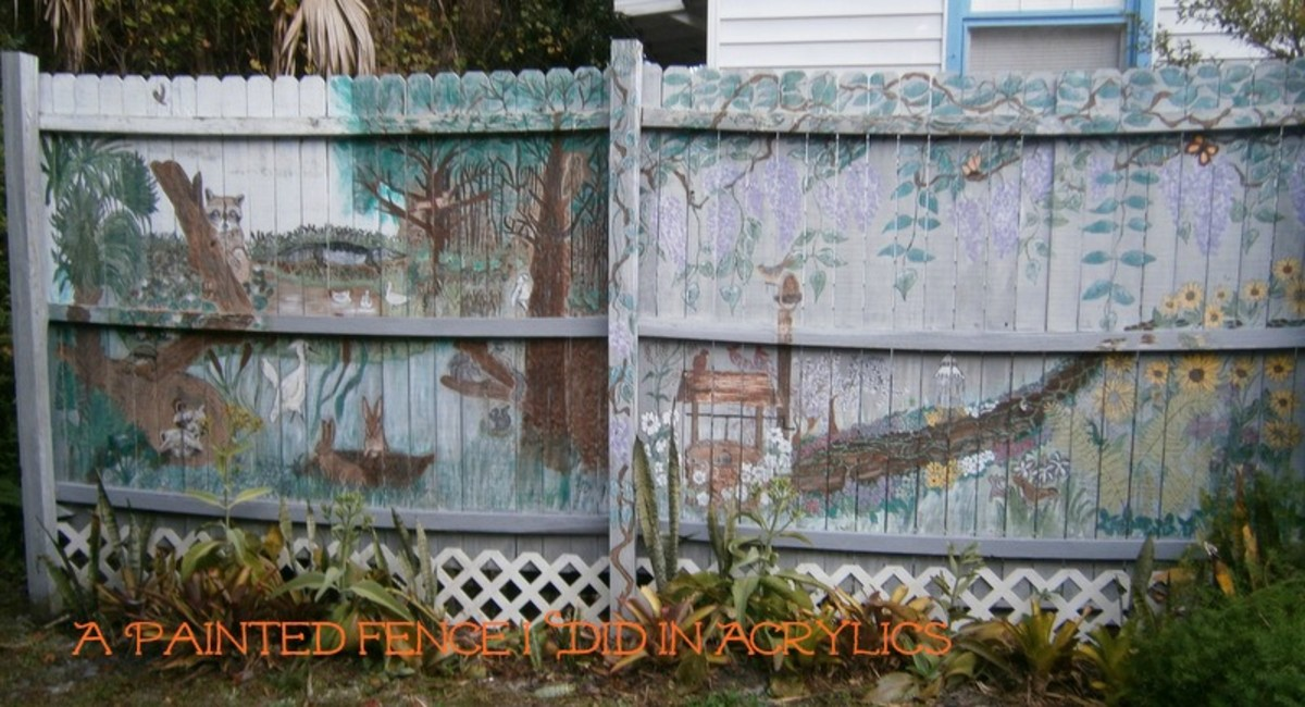 I painted this fence with acrylics.