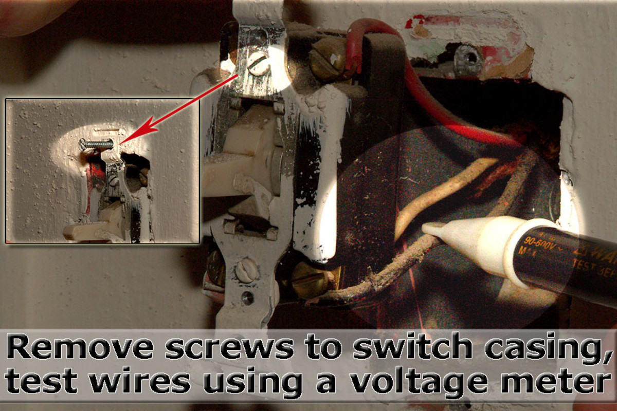 Remove casing screws, and then test wires for current.