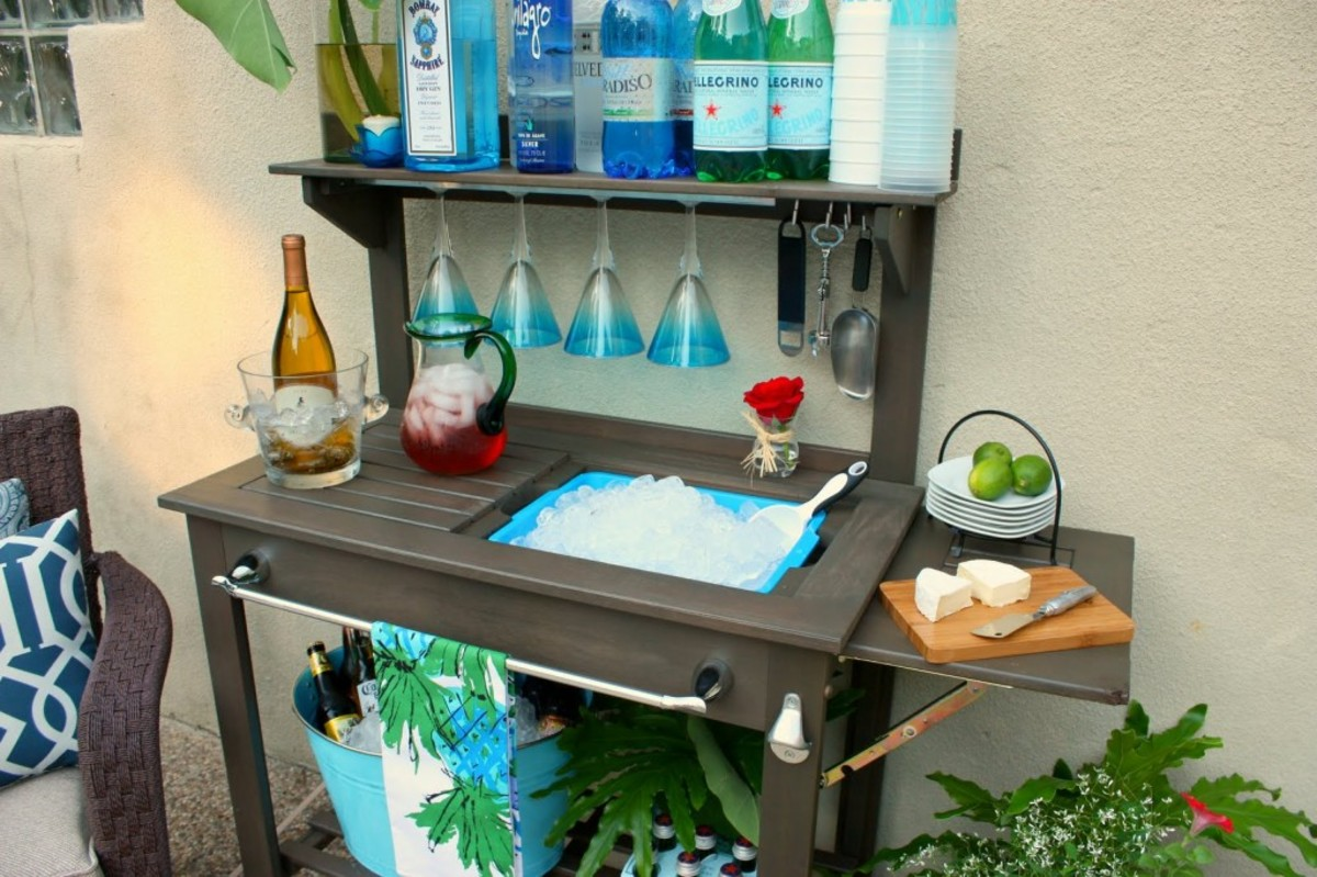 Set up your cocktail bar on the balcony before guests arrive.