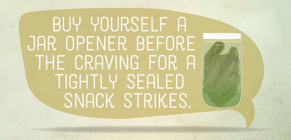 Buy yourself a jar opener before the craving for a tightly sealed snack strikes.