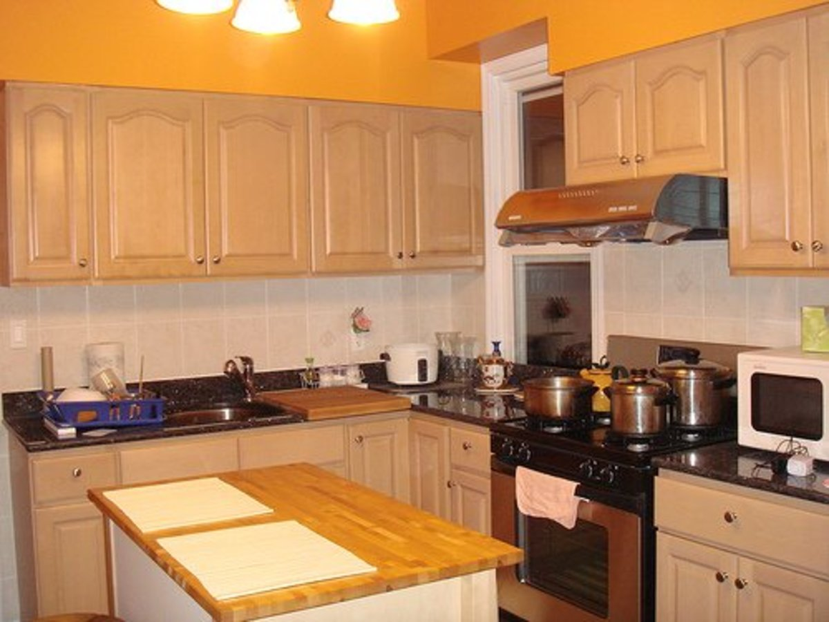 A kitchen in use