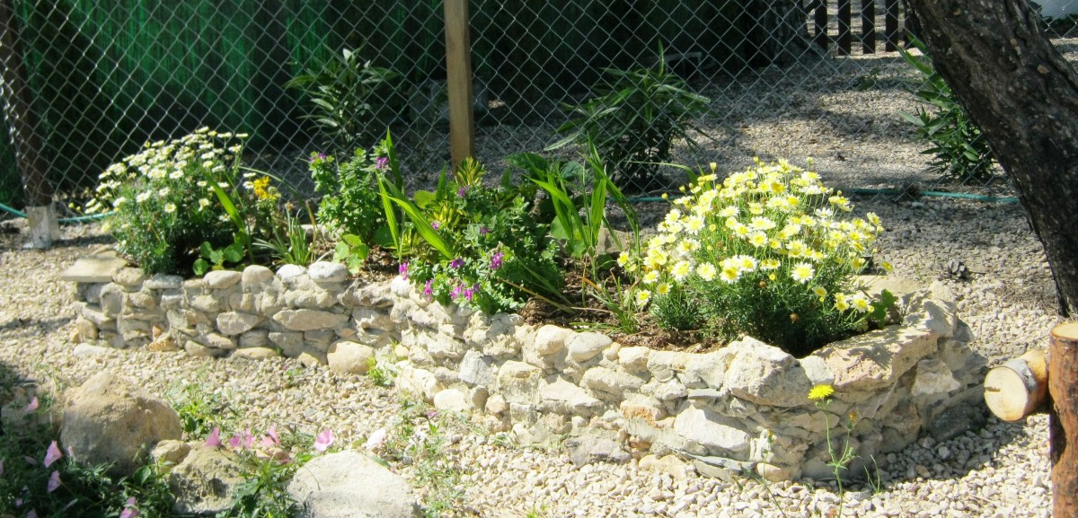 This planter filled an awkward spot between a fence and the top of a steep banking and took a few hours to build and fill.