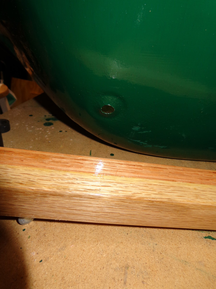 Section of finished handle.  Lamination is visible, as is the gloss of the polyurethane finish.