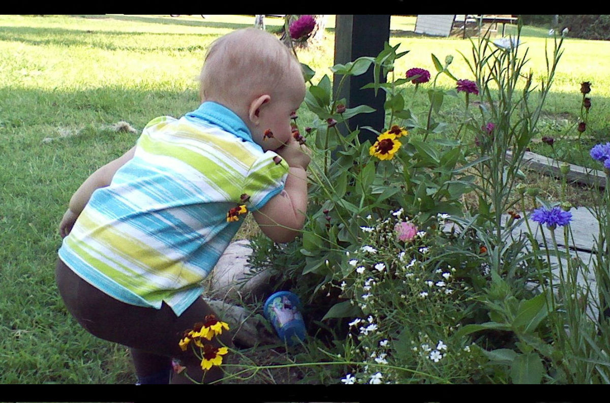 Children always take time to smell the flowers.