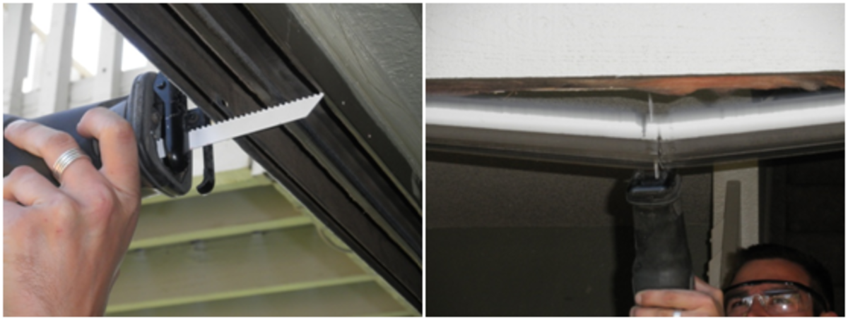 Use a reciprocating saw to cut through the center of the top part of the doorframe.