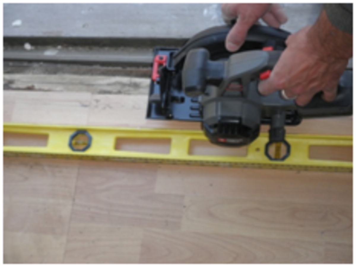 Use a circular saw to remove hardwood or laminate flooring.