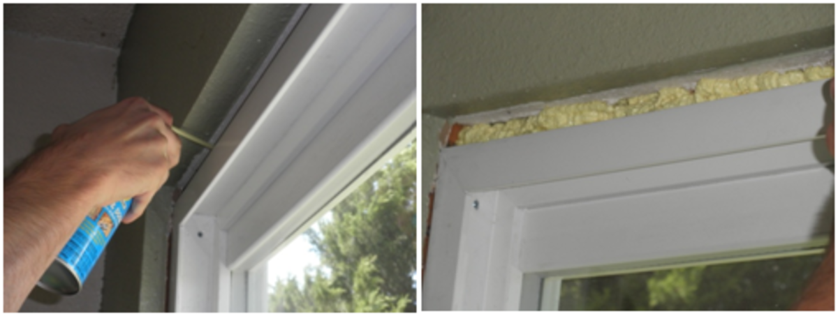 Apply expanding foam caulking in any gaps around the doorframe.