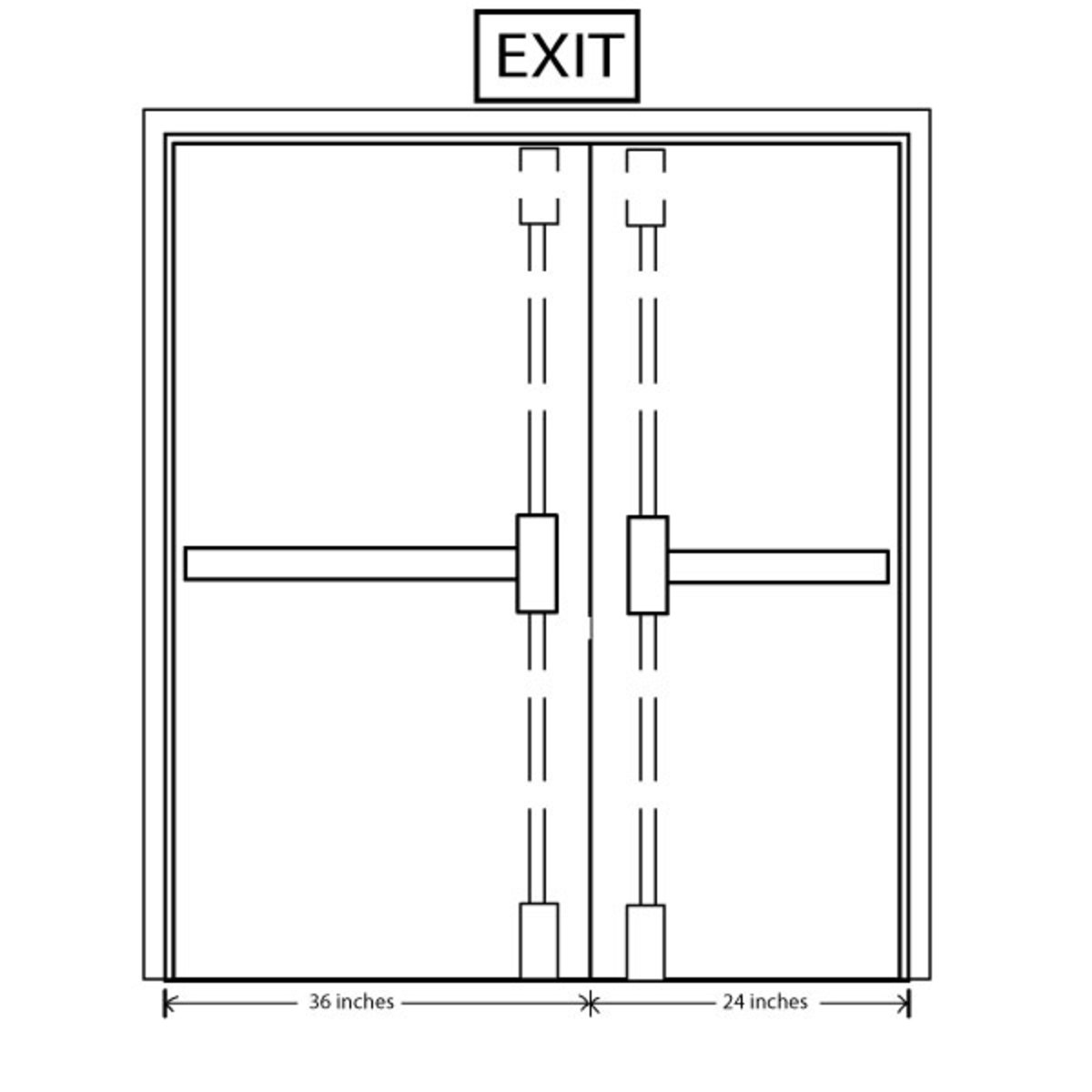 Fig. 4 - CVR Touch-Bar Exit Devices on Uneven Pair of Doors