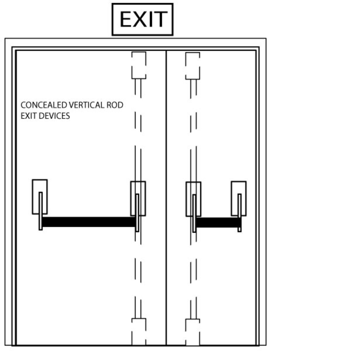Fig. 2 - Concealed Vertical Rod (CVR) Crossbar Exit Devices on Uneven Pair of Doors