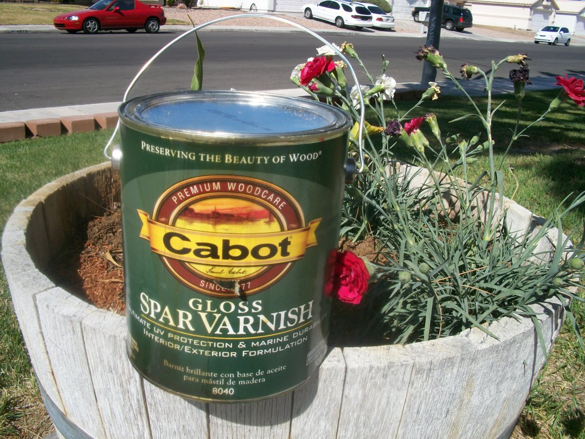 Spar varnish was left over from another project.  A quart lists for $13.37 now before tax.