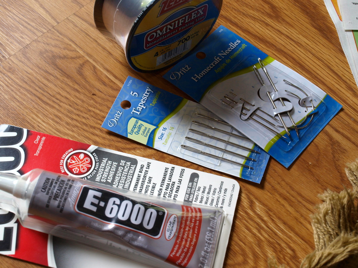 Supplies I used to repair the rug fringe.