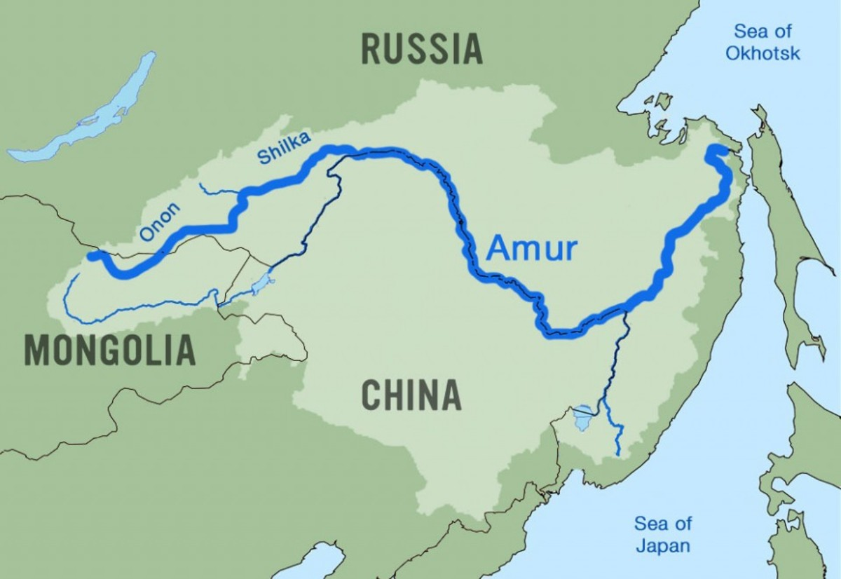 Location of the Amur river