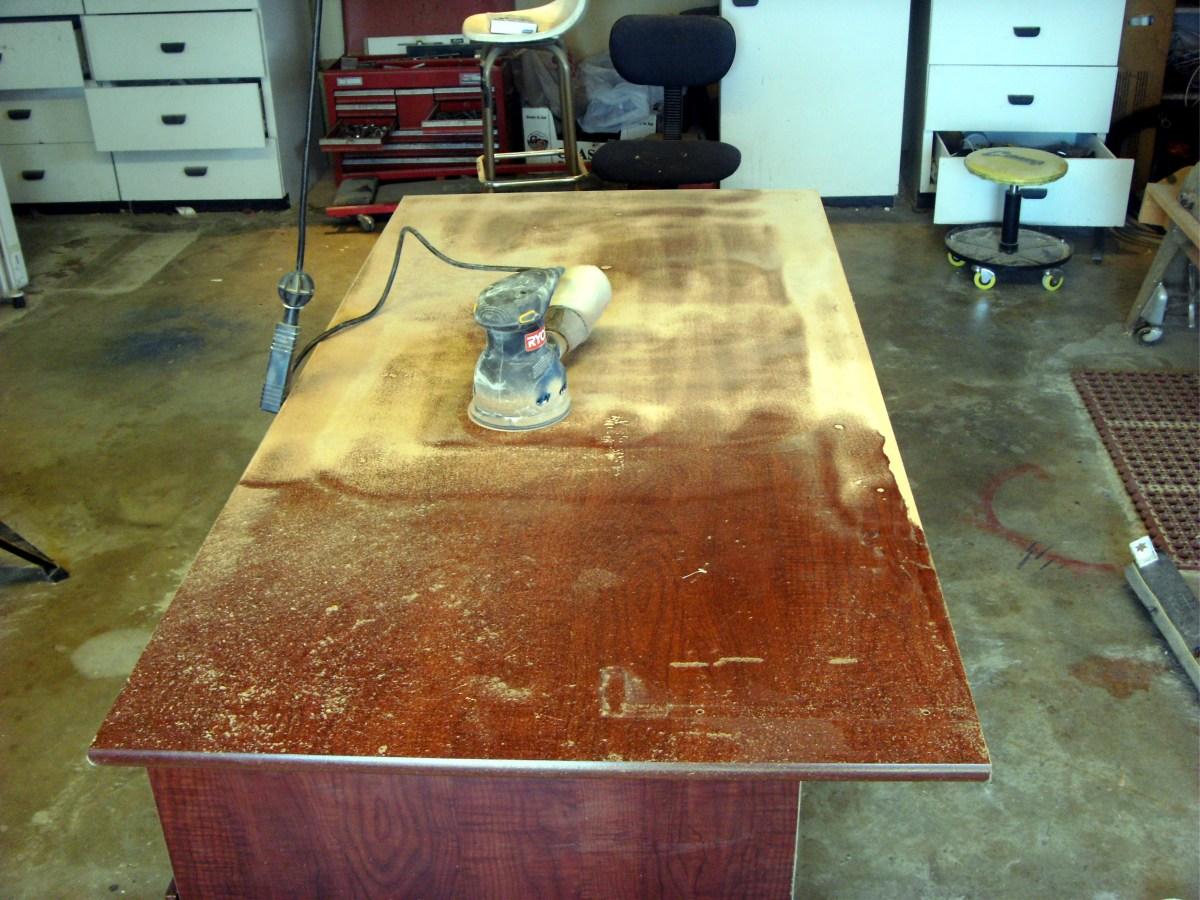 Sanding the desk