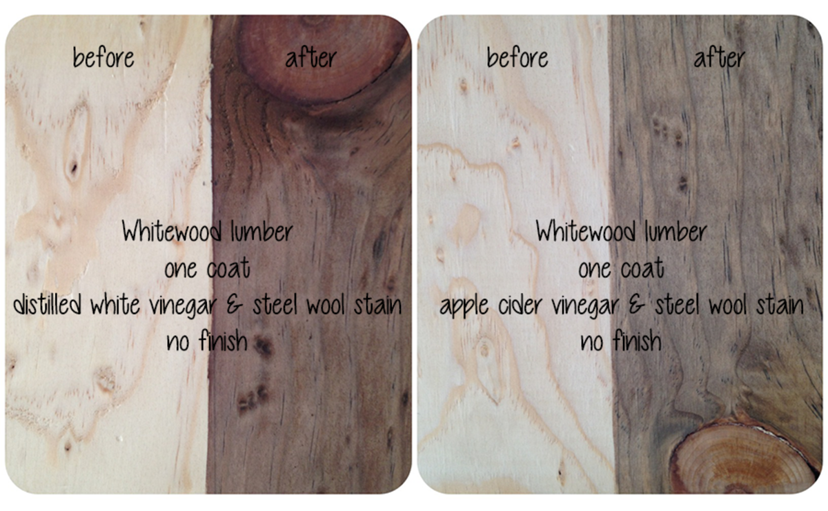 Whitewood lumber with apple cider and distilled white vinegar stains.