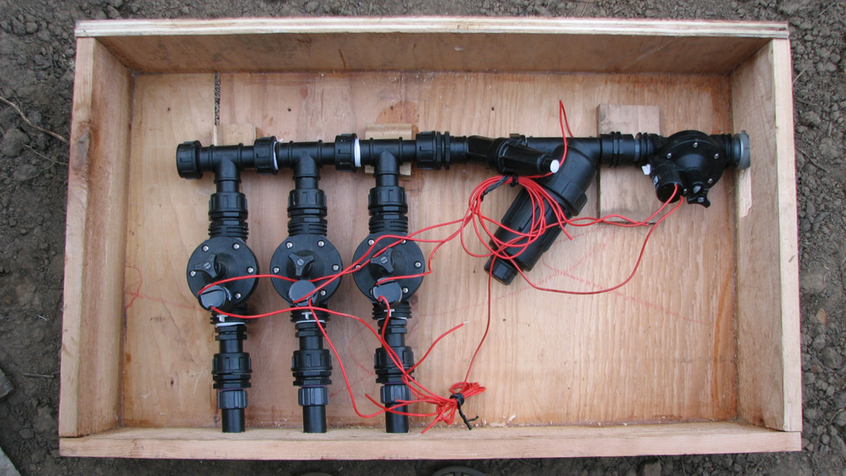 Homeowners with large gardens may need to break their drip-irrigation system up into valve-controlled zones.