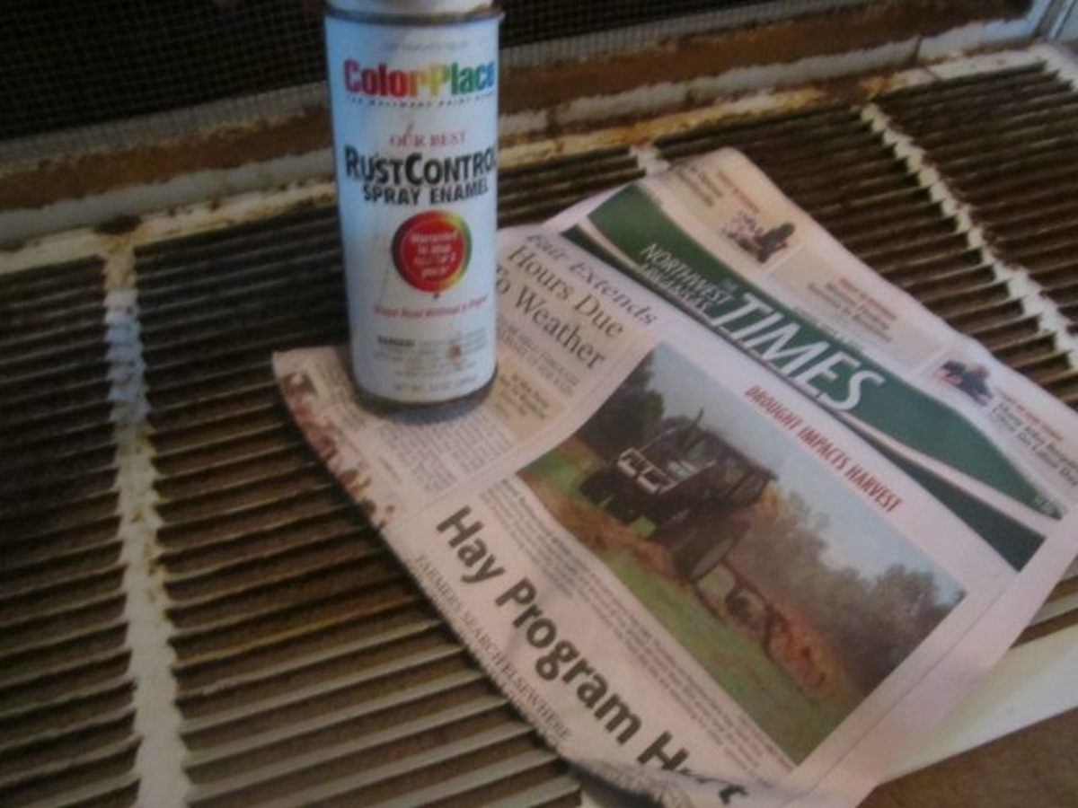 Some of the needed ingredients: spray paint and newspapers.