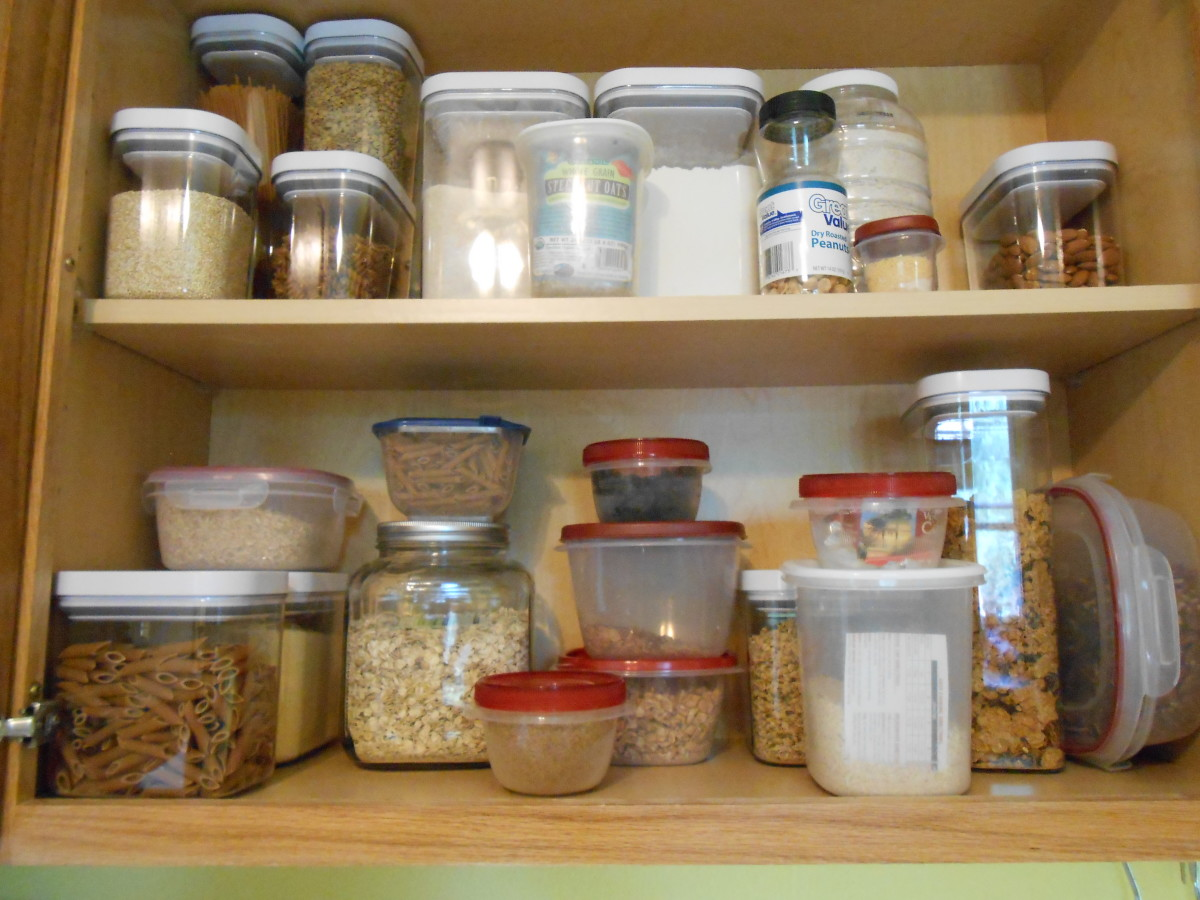 My reorganized flour moth proof pantry with beautiful OXO brand food storage containers.  I did the same with my spice pantry and my grocery storage cupboards.  Ahhhhhh, no worries!